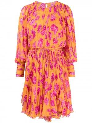 Короткое платье Monica с цветочным принтом Maria Lucia Hohan. Цвет: оранжевый