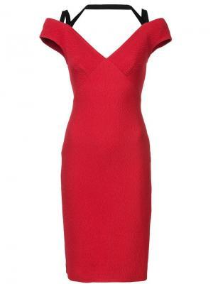 Платье с открытыми плечами Yigal Azrouel. Цвет: красный