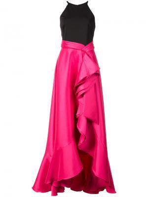 Каскадное платье Badgley Mischka. Цвет: розовый и фиолетовый