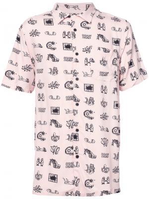 Рубашка с картинками Vans. Цвет: розовый и фиолетовый