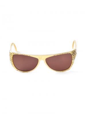 Овальные солнцезащитные очки Krizia Pre-Owned. Цвет: желтый
