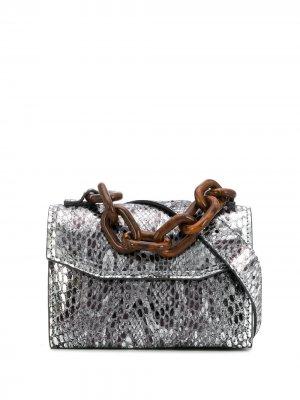 Поясная сумка со змеиным принтом GANNI. Цвет: серебристый