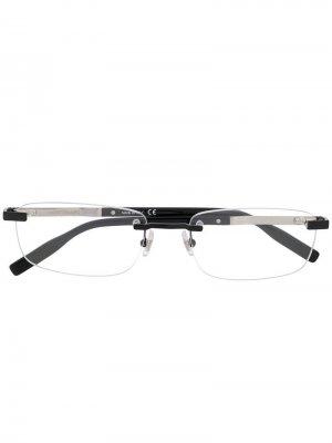 Прямоугольные очки без оправы Montblanc. Цвет: черный