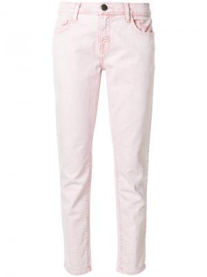 Укороченные джинсы прямого кроя Current/Elliott. Цвет: розовый