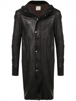 Пальто средней длины с капюшоном Guidi. Цвет: черный