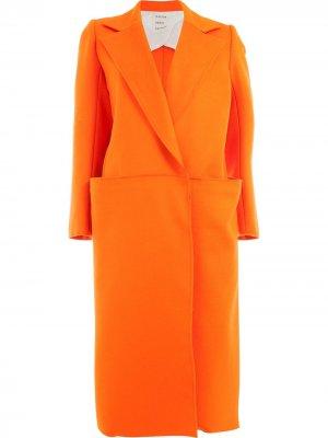 Пальто с потайной застежкой спереди Maison Rabih Kayrouz. Цвет: желтый