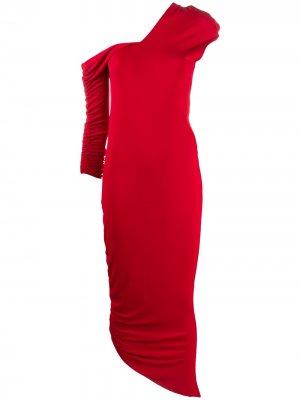 Длинное присборенное платье 1990-х годов Gianfranco Ferré Pre-Owned. Цвет: красный