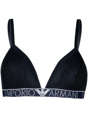 Бюстгальтер с логотипом и уплотненными чашками Emporio Armani. Цвет: синий