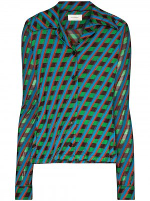 Рубашка Mambo с геометричным принтом Wales Bonner. Цвет: синий