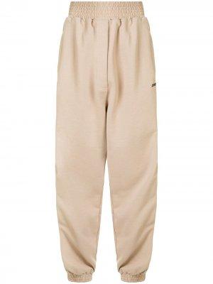 Спортивные брюки с молниями Marcelo Burlon County of Milan. Цвет: коричневый