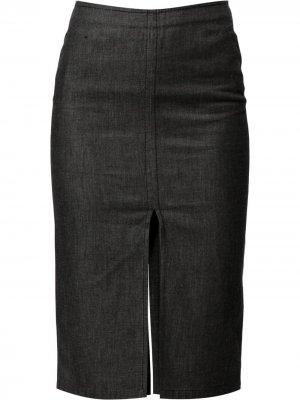 Джинсовая юбка-карандаш с разрезом Gucci Pre-Owned. Цвет: серый