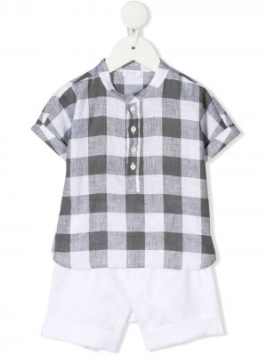 Комплект из шортов и клетчатой рубашки Il Gufo. Цвет: белый