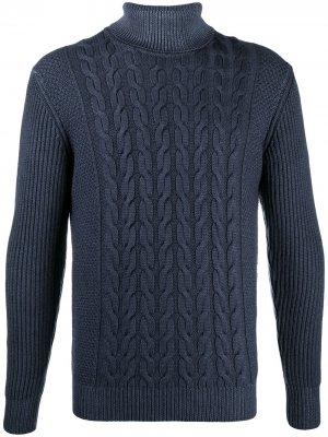 Джемпер фактурной вязки с высоким воротником Altea. Цвет: синий