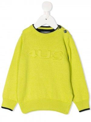 Джемпер оверсайз с тисненым логотипом Cesare Paciotti 4Us Kids. Цвет: желтый