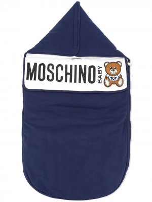 Одеяло с нашивкой-логотипом Moschino Kids. Цвет: синий