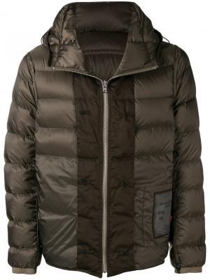Пуховая куртка с капюшоном Ten C. Цвет: коричневый