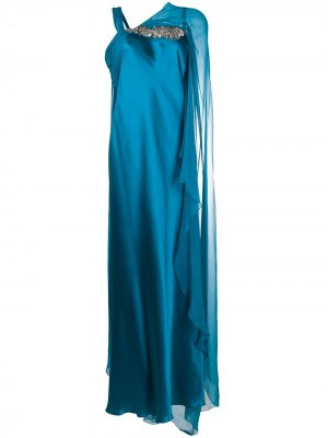 Атласное вечернее платье Alberta Ferretti. Цвет: синий