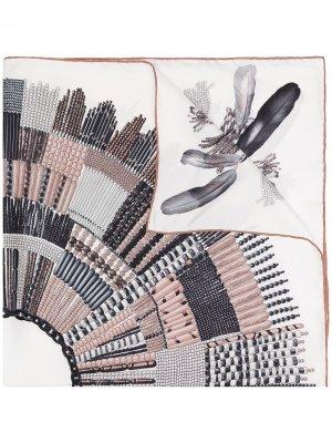 Платок с принтом Longchamp. Цвет: коричневый