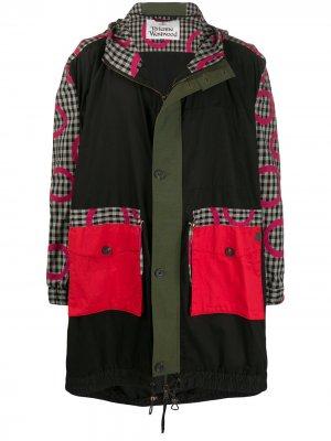 Пальто с клетчатыми вставками Vivienne Westwood. Цвет: черный