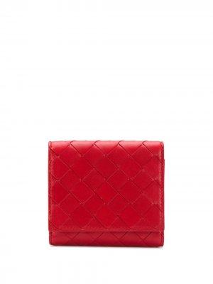 Плетеный кошелек в два сложения Bottega Veneta. Цвет: красный