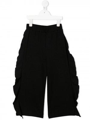 Широкие брюки с оборками Monnalisa. Цвет: черный
