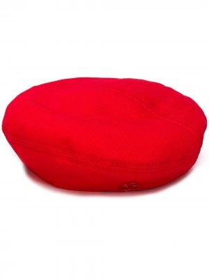 Однотонный берет Maison Michel. Цвет: красный