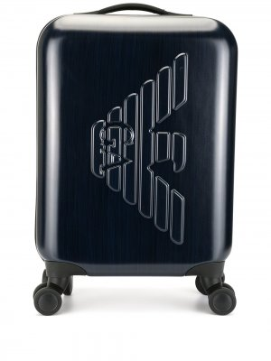 Чемодан с логотипом Emporio Armani. Цвет: синий