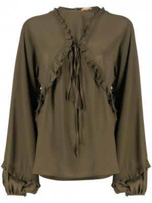 Блузка с пышными рукавами и завязками Nº21. Цвет: зеленый