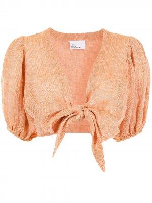 Блузка с пышными рукавами и завязками Lisa Marie Fernandez. Цвет: оранжевый