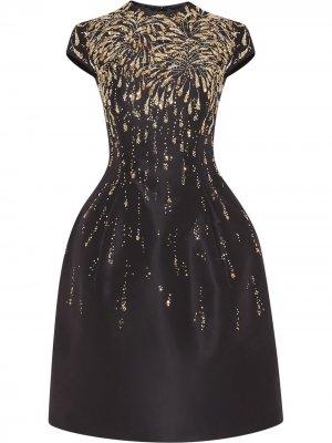 Структурированное платье с пайетками Oscar de la Renta. Цвет: синий
