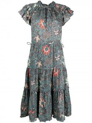 Платье с оборками и цветочным принтом Ulla Johnson. Цвет: зеленый