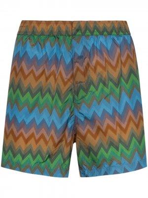 Плавки-шорты с принтом зигзаг Missoni. Цвет: зеленый