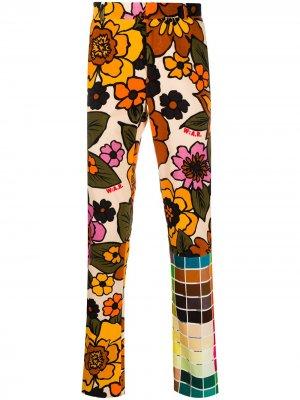 Прямые брюки с цветочным принтом Walter Van Beirendonck. Цвет: нейтральные цвета