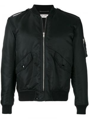 Утепленная куртка-бомбер Saint Laurent. Цвет: черный