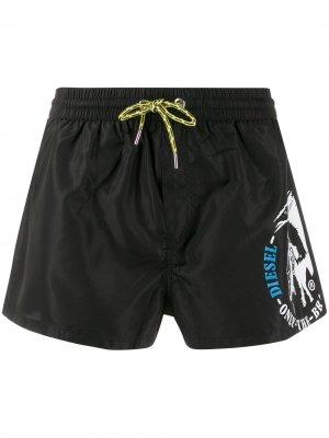 Плавки-шорты с логотипом Mohawk Diesel. Цвет: черный