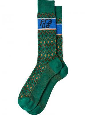 Носки с жаккардовым узором Prada. Цвет: зеленый