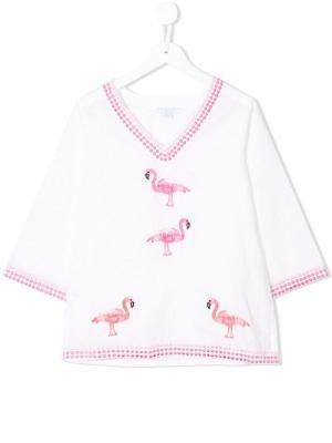 Кафтан с вышивкой фламинго Elizabeth Hurley Beach Kids. Цвет: белый