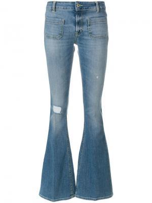 Расклешенные джинсы с декоративными дырами Dondup. Цвет: синий