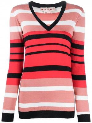Пуловер в полоску с V-образным вырезом Marni. Цвет: розовый