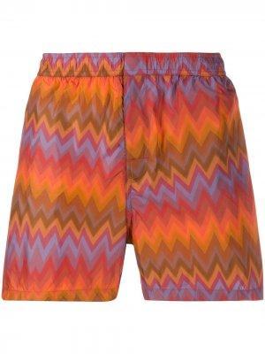 Плавки-шорты с узором зигзаг Missoni Mare. Цвет: оранжевый