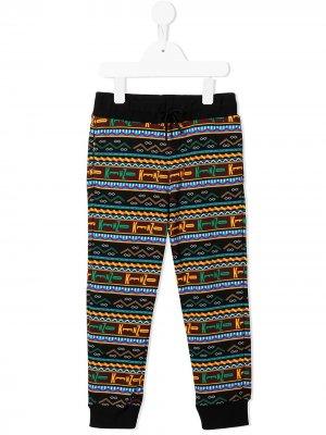 Geometric striped logo-print trousers Kenzo Kids. Цвет: черный