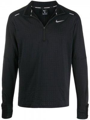 Спортивный топ с воротником на молнии Nike. Цвет: черный