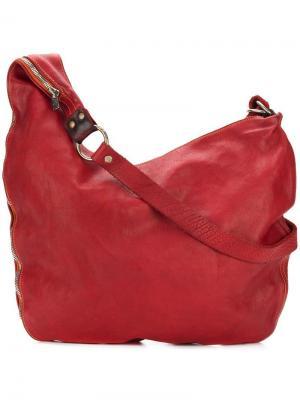 Большая сумка через плечо на молнии Guidi. Цвет: красный