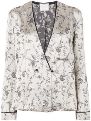 Атласный пиджак в пижамном стиле Forte. Цвет: телесный