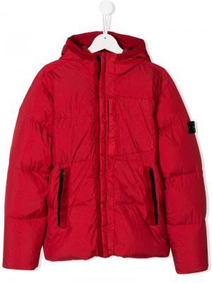 TEEN zipped padded jacket Stone Island Junior. Цвет: красный