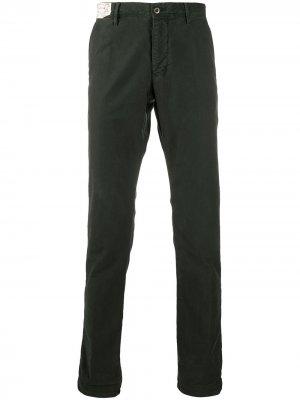 Твиловые брюки кроя слим Incotex. Цвет: зеленый