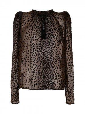 Прозрачная блузка с анималистичным принтом Pinko. Цвет: коричневый