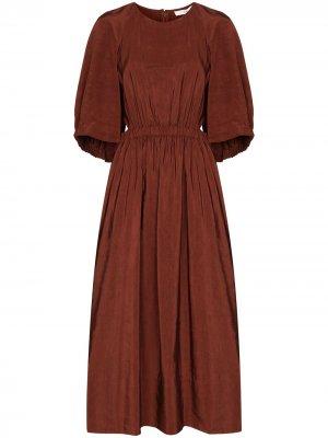 Платье миди Gemma со сборками на талии Tibi. Цвет: красный