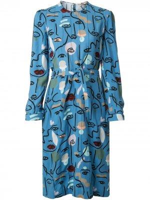 Приталенное платье Ports 1961. Цвет: синий