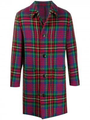 Однобортное пальто AMI Paris. Цвет: синий